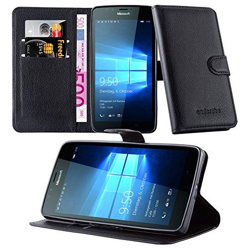 Cadorabo DE-105709 Nokia Lumia 950 Handyhülle mit Kartenfach & Standfunktion Schwarz