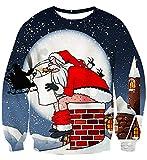 AIDEAONE Herren Damen Pullover 3D Lustig Weihnachten Weihnachtsmann Langarm-Sweatshirt