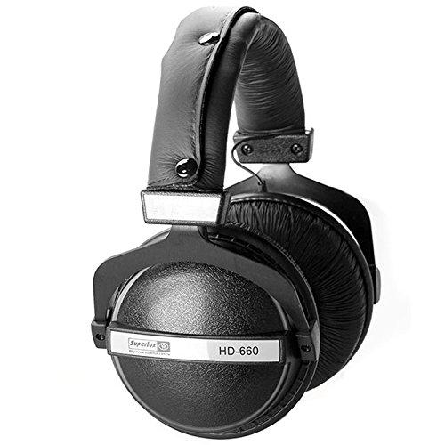 Superlux HD660 - Auriculares de Diadema Cerrados, Negro/Blanco