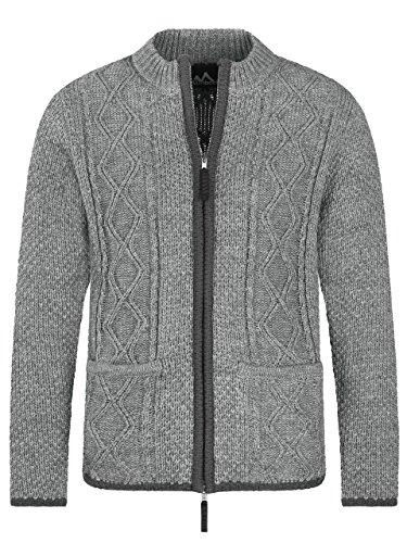ALMBOCK Trachtenweste Herren grau Strick | Weste Tracht Herren mit praktischem Reißverschluss | Trachtenjacke Herren Wolle - Trachtenjacke Herren XL