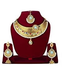 MAJIK Stylish Gold Plated Pearls Choker Necklace With Drop Earring & Mangtika Jewellery Set For Women And Girls