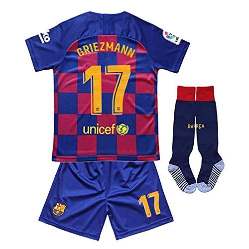 Griezmann maglia calcio per bambini ragazzi, football barcelona #17 griezmann tuta da allenamento per bambino ragazzo uniforme da calcio t-shirt + pantaloncini+calzino (11-13years/28, home 2020)