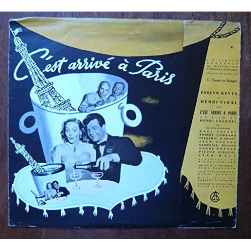 Dossier de presse de C'est arrivé à Paris (1952) - 70x25cm – Film de Henri Lavorel avec Evelyn Keyes, Henri Vidal – Photos N&B - Le récit – Fiche technique– Bon état.