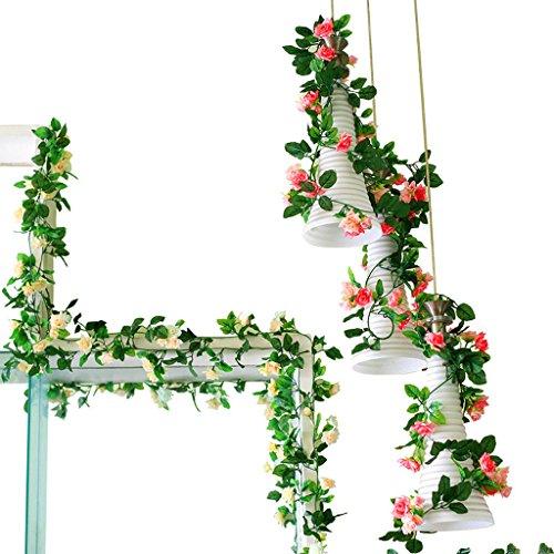 Fleur de fleurs décoratives Fleur de fleur de roses Fleur de rotin Fake Flower Rattan Fleur en plastique Fleur de climatisation Tuyaux de mur en rotin de plafond 2 pièces
