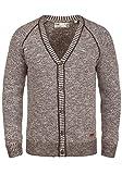 !Solid Thiamin Herren Strickjacke Cardigan Feinstrick mit V-Ausschnitt und Knopfleiste aus 100% Baumwolle, Größe:XL, Farbe:Coffee Bean (5973)