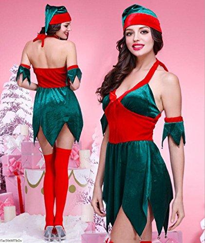 MFFACAI Frauen Miss Santa KostüM Weihnachtsanzug GrüN Weihnachtselfen Kleidung Weihnachtsbaum-Form KostüM Halloween COS Serviert Weihnachten