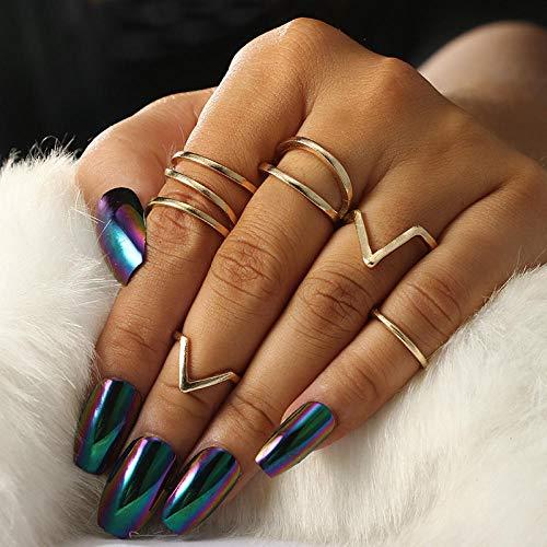 SanQ-Seven 6 stücke Stapel Ringe V Joint Ringe Knuckle Nail Ring Set Midi Ringe Knuckle Stacking Multi Größe Comfort Fit Gold für Frauen (Ringe Stacking 11 Größe)