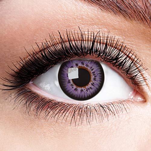 Farbige Kontaktlinsen Lila Motivlinsen Ohne Stärke mit Motiv Linsen Halloween Karneval Fasching Cosplay Kostüm Purple Eye