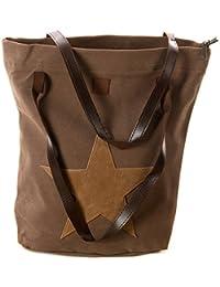15ee0b9ded3b4 Schultertasche mit aufgenähtem STERN Shopping Bag Vintage Tasche Shopper  mit Henkel Handtasche TOP TREND (Braun mit…