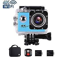 """Ankere Sport Aktion WIFI Kamera 4K Ultra HD Unterwasser 30m Wasserdichte, 170 ° Weitwinkel Cam, 2,0 """"LCD-Bildschirm, mit Zubehör(2 Batterien + 2,4G Fernbedienung + Stativ + Ladegerät) - 16MP Blau"""