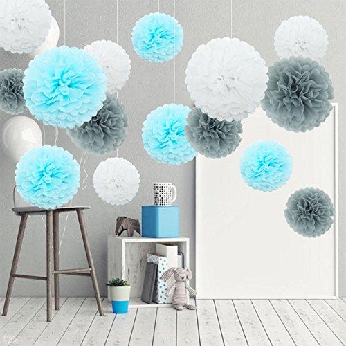 DIY Papier Blumen, Seidenpapier Pompoms Dekoration Set zum Geburtstag/ Baby Shower/Hochzeitsfest/Party (Einfache Promotion-dekorationen)