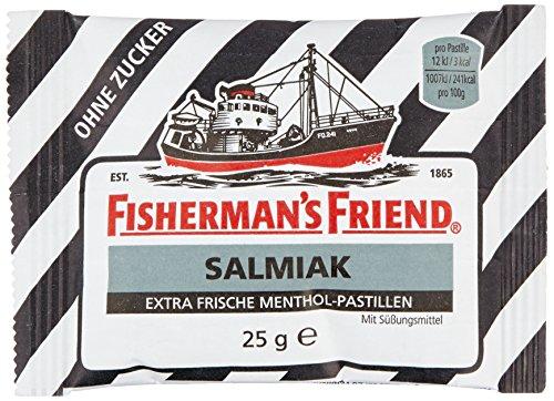 Fishermans Friend Pastillen (Fisherman's Friend Salmiak | Karton mit 24 Beuteln | Menthol und Salmiak Geschmack | Zuckerfrei für frischen Atem)