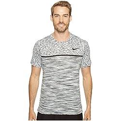 Nike M Nkct Dry Chllgr Ss Camiseta de Manga Corta de Tenis, Hombre, Blanco (White / Black / Pure Platinum / Black), M
