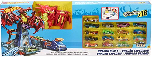 Hot Wheels FRR21 Dragon Blast Playset Incluye 18 vehículos fundidos Dragon Attack by Mattel