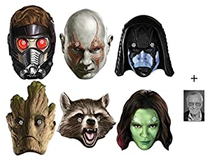 Mask Pack - Marvel Guardians of the Galaxy Set of 6 Variety Face Mask Pack ( Drax, Rocket, Groot, Gamora, Ronan and Peter Quill) includes 6x4 inch (15cm x 10cm) Star Photo