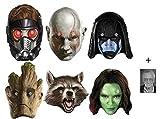 Marvel Les Gardiens de la galaxie Masque en carton de 2D paquet de 6 ( Drax, Rocket, Groot, Gamora, Ronan et Peter Quill) - Comprend une photo étoile (15x10cm)