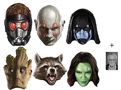 Marvel Guardians of the Galaxy Karte Partei Gesichtsmasken (Maske) Packung von 6 ( Drax, Rocket, Groot, Gamora, Ronan und Peter Quill) - Enthält 6X4 (15X10Cm) (Kind Gamora Kostüm)
