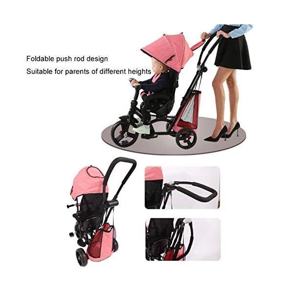 BGHKFF 4 In 1 Children's Hand Push Tricycle 1 To 6 Years 360° Swivelling Saddle 5-Point Safety Belt Children's Pedal Tricycle Adjustable Handle Bar Childrens Tricycles Maximum Weight 25 Kg,Red  ★Material: High carbon steel frame, suitable for children aged 1-6, maximum weight 25 kg ★ 4 in 1 multi-function: can be converted into a stroller and a tricycle. Remove the hand putter and awning, and the guardrail as a tricycle. ★Safety design: Golden triangle structure, safe and stable; front wheel clutch, will not hit the baby's foot; 5-point seat belt + guardrail; rear wheel double brake 3