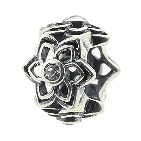 Beads Hunter Charm en argent sterling 925perle boule de cristal & Entretoise Bracelet Pandora et similaires 3mm