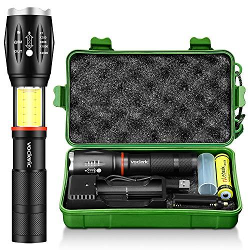 LED Taktische Taschenlampe, Vockvic CREE T6 1000 Lumen Superhell Wiederaufladbar Taschenlampe mit COB Licht und Magnet, 6 Modi Wasserdichte Zoombar Handlampe, Akku + USB Ladegerät Inklusive