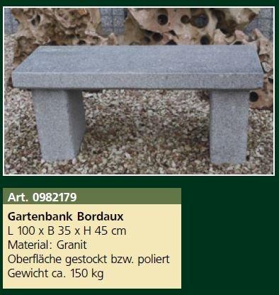 Gartenbank Bordeaux, L 100 x B 35 x H 45 cm Steinbank, ca. 150 kg