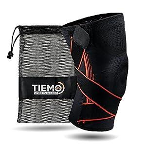 TIEMO Premium Sport Kniebandage mit einzigartiger Triple-Stability Formel – Elastische Knieorthese für Männer & Damen – Kniestütze in Übergrößen bis XXL