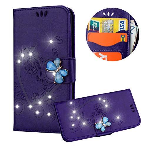 Lila Brieftasche für iPhone XS,Strass Handyhülle für iPhone X,Moiky Luxus Liebe Herze Muster 3D Schmetterling Dekor Magnetisch Kunstleder Stoßdämpfende Handytasche mit TPU