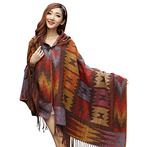 homedecoam Damen Strick Poncho Cape Umhang Loose Fit Hooded Kapuzen Blanket Outwear Mantel Schal mit Fransen Kaffee