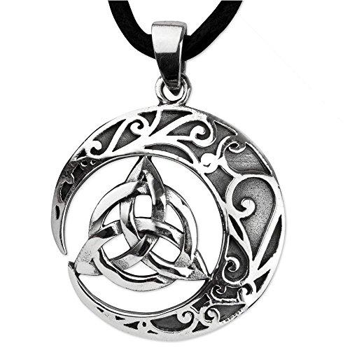 DarkDragon Anhänger Keltischer Knoten 925er Silber Amulett Schmuck Schutzamulett mit Lederhalsband Schmucksäckchen und Karte Celtic 465