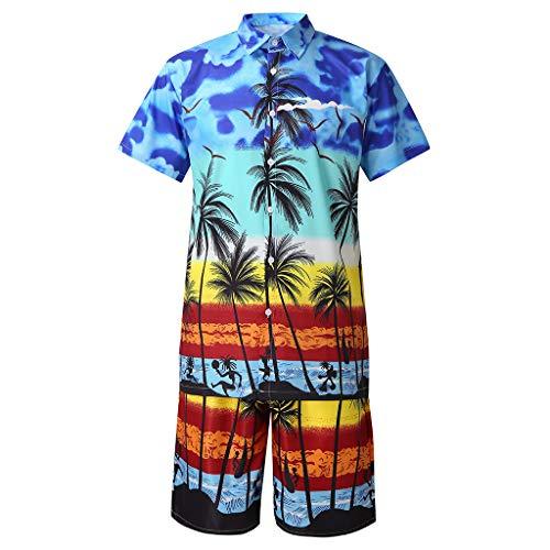 Herren Sommerhemd, Hawaii Herrenhemd, Freizeithemden, Tropical Flower Stripes 3D Print Kurzarm, Kurzarm Blumendruck Funky Hawaiihemd Bluestercool