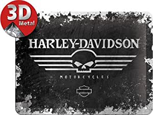 Crânes de plaque en relief 3D moto Harley Davidson Plaque en métal rétro vintage