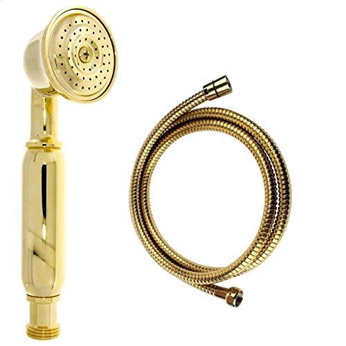 Nostalgie Retro Handbrause / Brause / Brausekopf / Duschkopf mit Brauseschlauch – aus Messing mit gold Oberfläche