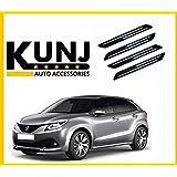Kunj Autotech - Premium Quality Black Car Bumper Protector Guard With Double Chrome Strip (4Pcs.) For Maruti Suzuki Baleno
