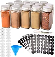 MONICA 14 Glass Spice Jars with w/2 Types of Spice Labels.4oz Empty Square Spice Bottles,Three kinds of Shaker