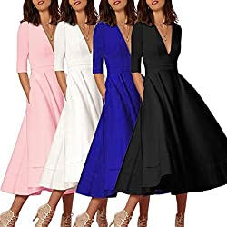 OverDose Women Vintage Long Ball Gown Prom Cocktail Ladies Evening Party Swing Dress