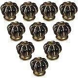 Poignées de meuble, CAMAL 10pcs Europe de Style Citrouille en Céramique Tiroirs Boutons et Armoires Poignées 40mm(1,57 pouces) (Noir)