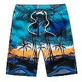 JEELINBORE Herren Freizeit Shorts Urlaub Strand-Shorts Übergröße Sommer Kokosnuss Palmen Badeshorts Schwimmshorts Boardshorts (Blau, 4XL)