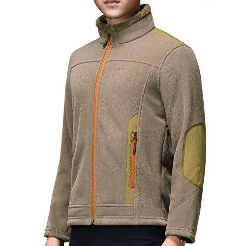 Giacca in pile da uomo cappotto warm-zip warm outwear per outdoor outdoor active sport invernali camping hiking sci alpinismo(cammello leggero, l)