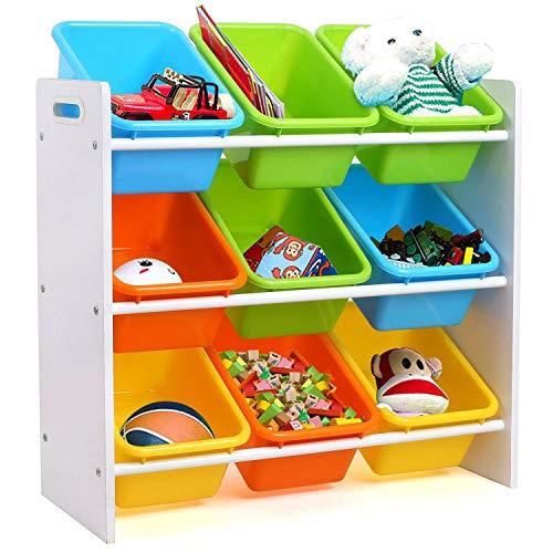 Homfa Kinder Aufbewahrungsregal Kinderregal Spielzeugregal Spielzeugkiste Kommode mit 9 Kunststoffkästen für Spielzeug und Bücher Multi Toy Organizer 65 * 26.5 * 60cm -