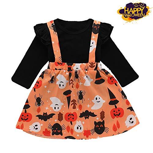 Halloween Kostüm,Halloween Langarm Sling Minikleid für Baby Mädchen,Kinder Karneval Party Cosplay Kostüm/ 6-24 Monat/ 1~4 Jahr Alt (Schwarz, 12~18 Monat)