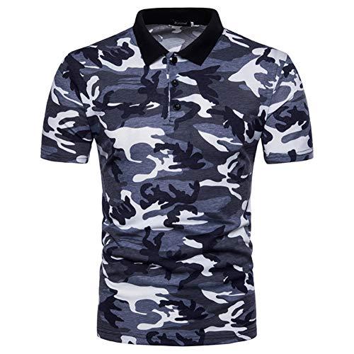 Blau Camo Camouflage T-shirt Top (Poloshirts Herren Casual Camouflage Kurzarm Polo Shirt Slim fit Tops Camo T-Shirt)