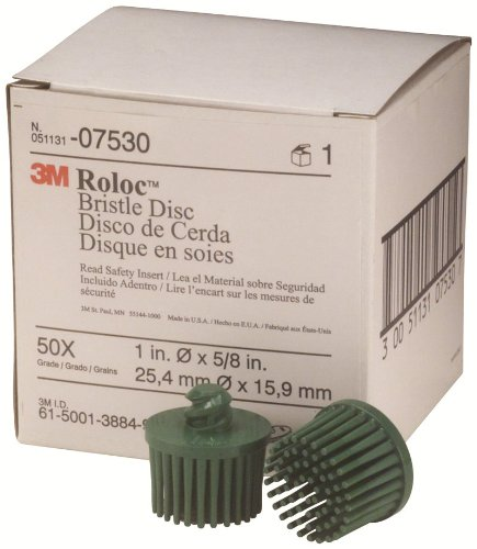 Scotch-Brite Bristle Disc 07530, 1 Inch, 50 Green Grade 10/Box by 3M