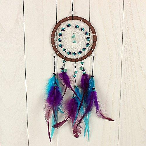 Ividz - Atrapasueños hecho a mano, red circular con plumas, decoración colgante de pared