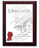 Beste Tante Urkunde mit Aluminiumplatte auf gefräster Holzplatte, Farbe:braun-weiss