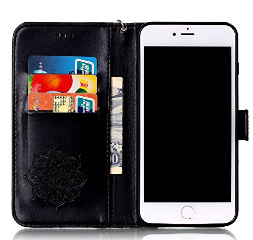 Nnopbeclik Coque Iphone 7 Plus Apple (NOT FOR IPHONE 7) Mode Fine Folio Wallet/Portefeuille en Bonne Qualité PU Cuir Housse pour Apple Iphone 7 Plus Coque Cuir [Neuf] (5.5 Pouce) [Antichoc] Wind Chime noir