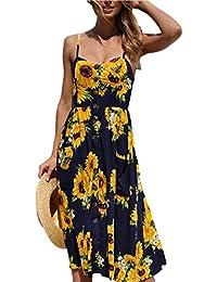 Midi-Kleid, Frauen Sommer floralen Bohemian Spaghetti Strap  Button-Down-Swing Strand d19e4dd4b3