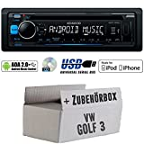 VW Golf 3 III - Kenwood KDC-100UB - CD/MP3/USB iPod/Android-Steuerung Autoradio - Einbauset