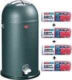 Wesco Kickmaster soft graphit 33-Liter Mülleimer + 56 Stück optimal passende Müllbeutel