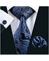 Black with Blue Pailsey Silk Tie Matching Pocket Square & Cufflink Set