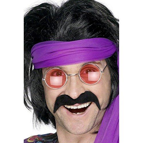 (NET TOYS 60er 70er Jahre Bart Schnauzer Schwarz Kunstbart Bart schwarzer Moustache Schnurrbart Schnäuzer Schnauzbart Hippiebart)